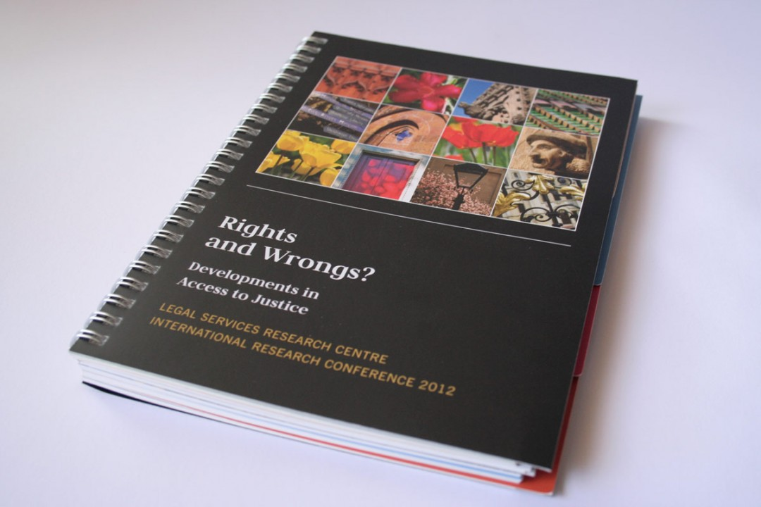 A5 wirebound tabbed conference brochure