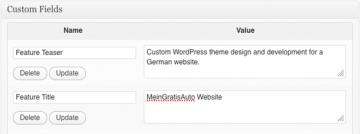 WordPress development adding custom fields