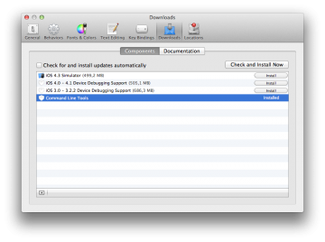 Installing command line tools from Xcode