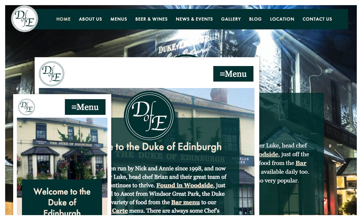 London pub responsive website