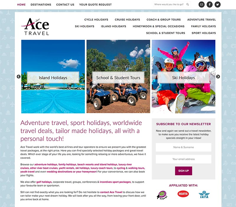 travel enquiry website home page